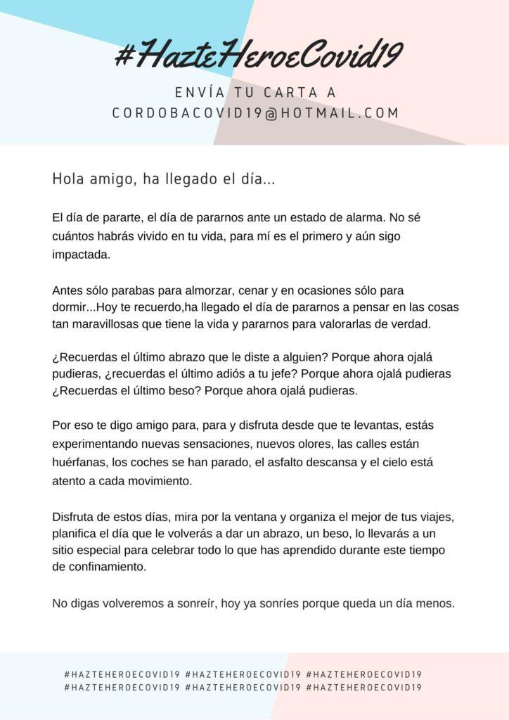 Carta de un desconocido a una persona que está de cuarentena #HazteHeroeCovid19