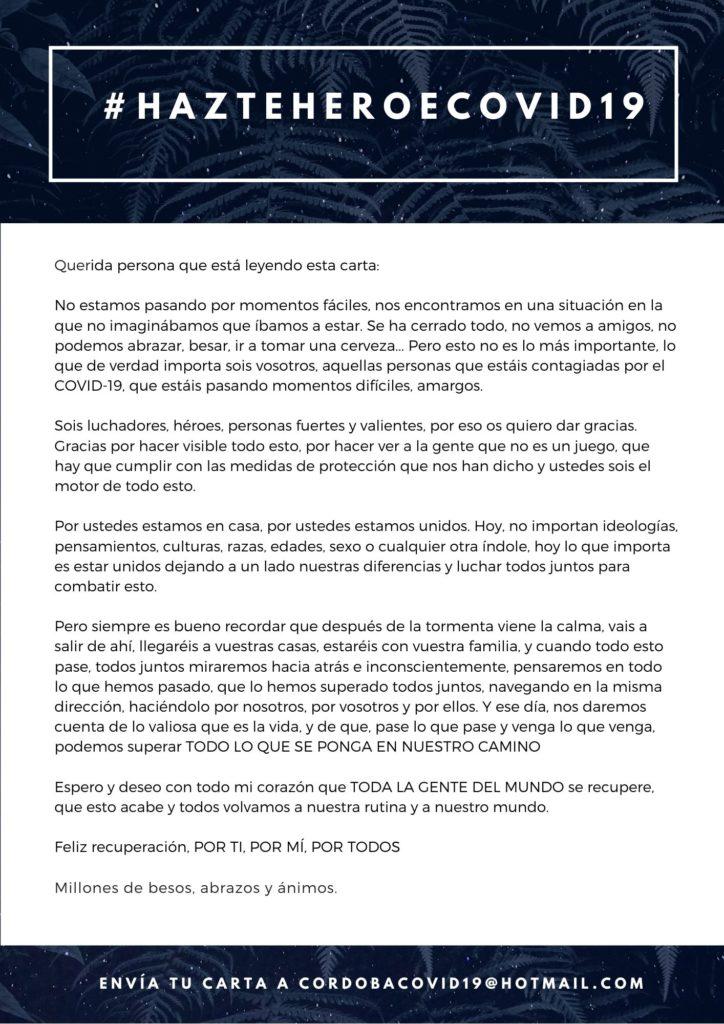 Carta de un desconocido a un enfermo por Covid-19 #HazteHeroeCovid19