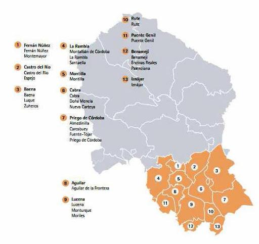 Mapa de los municipios confinados del Distrito Sanitario Sur de Córdoba
