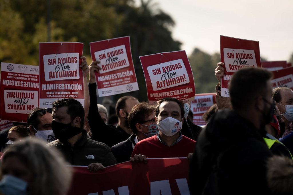 Manifestación para reclamar ayudas para el sector de la hostelería y turístico. Foto: RAM