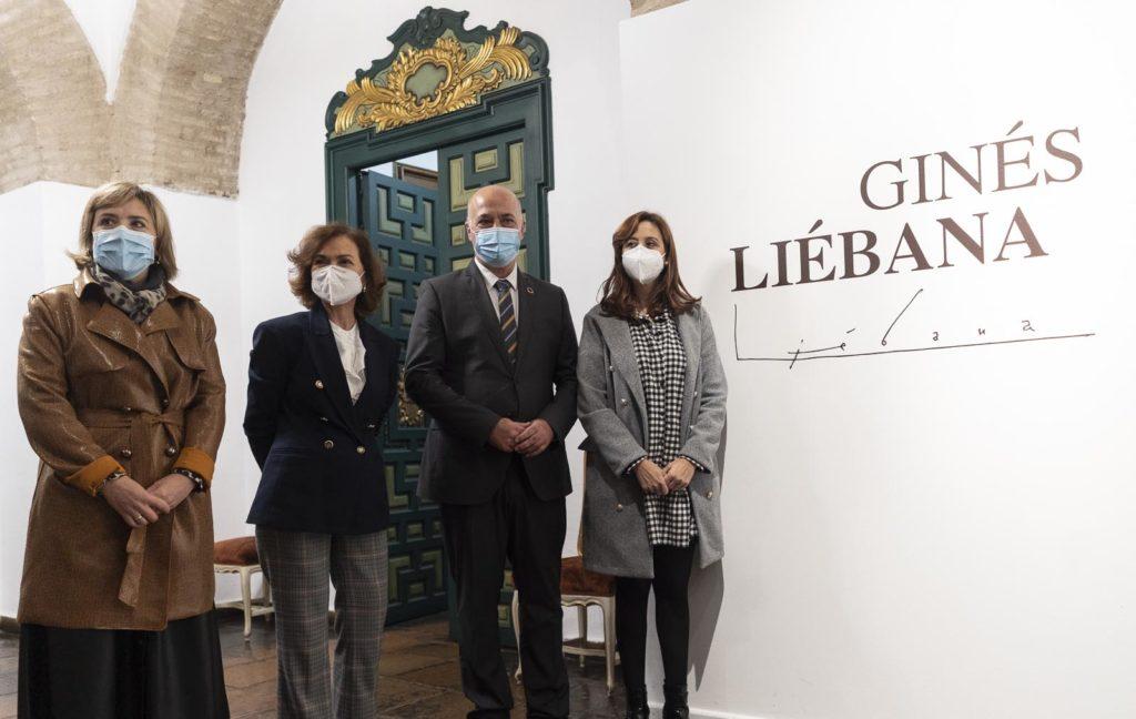 Carmen Calvo y Antonio Ruiz presentan la exposición de Ginés Liébana. Foto: RAM