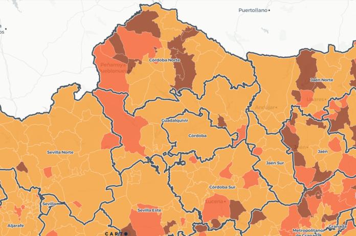 Mapa covid con los niveles de alerta de cada municipio de Córdoba