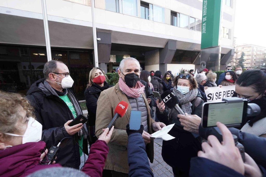 El presidente del Comité de Empresa, Alfonso Redondo, durante la manifestación