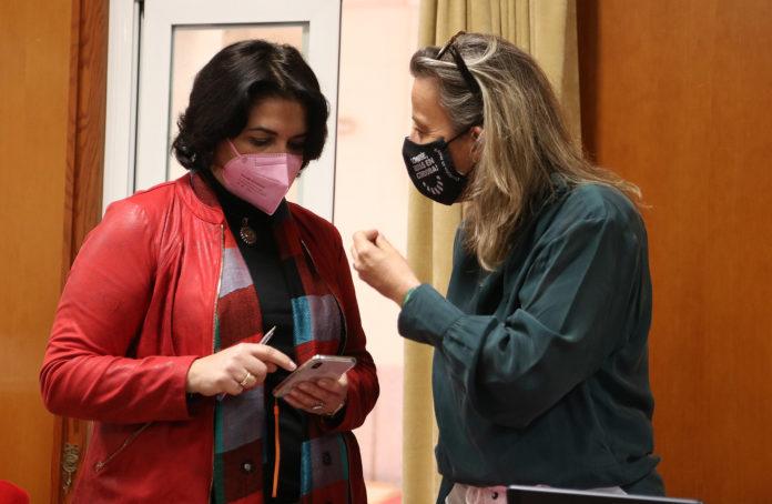 Isabel Albás con Eva Timoteo durante el Pleno ordinario de hoy