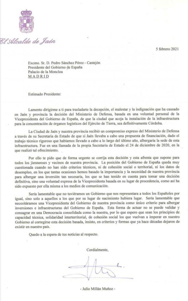 Carta dirigida al presidente del Gobierno, Pedro Sánchez