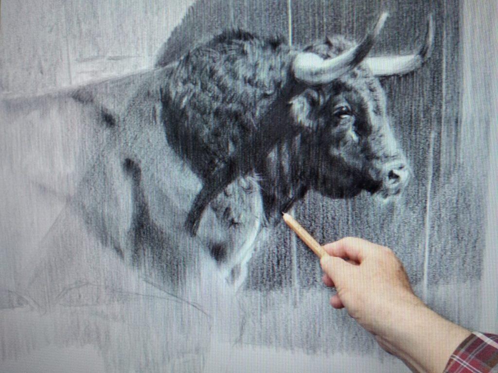 Miguel Acevedo pintando una de sus últimas obras