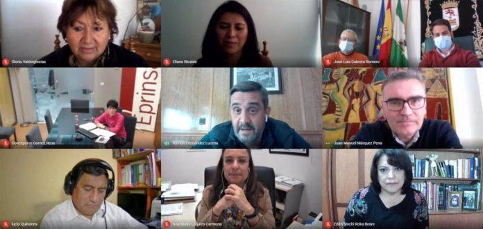 El delegado de Cooperación al Desarrollo de la Diputación de Córdoba, Ramón Hernández (centro), en el encuentro virtual con autoridades de Cuzco