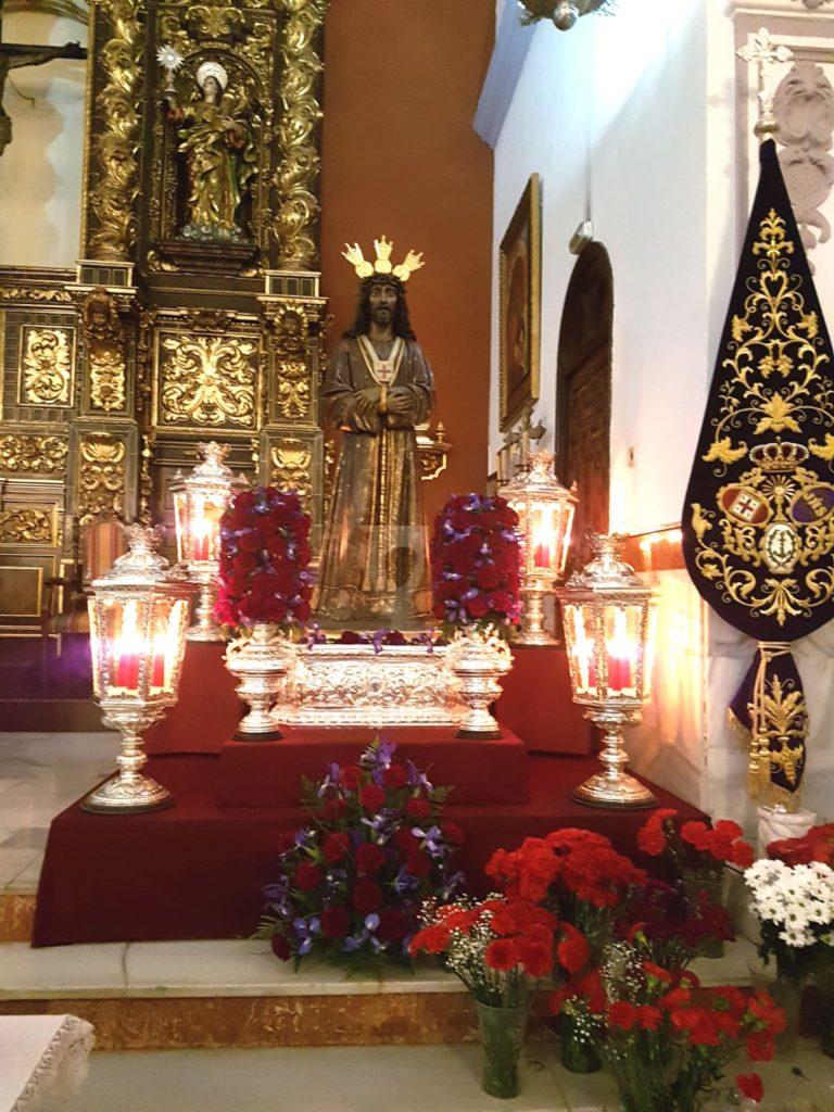 Ntro. Padre Jesús Cautivo antes de la recaudación de alimentos en la Parroquia de Santa Bárbara