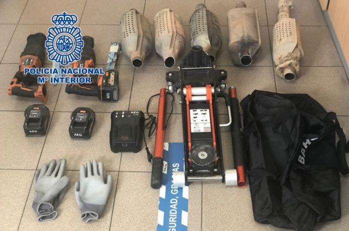 Herramientas incautadas por la Policía Nacional.