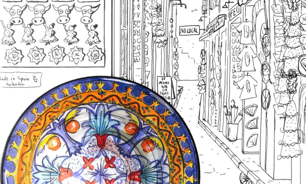 'Plato vs. Mass tourism', una de las ilustraciones de Luis Torres para 'Slow Down'